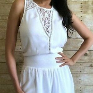White Abercrombie High Waisted Romper